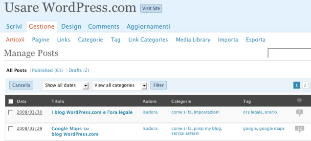 La nuova bacheca di wordpress.com